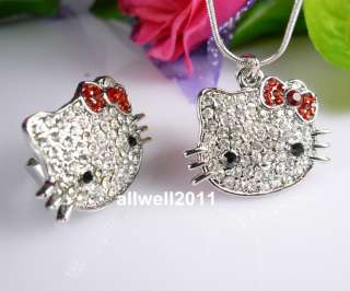 Hello Kitty Bling Ring Necklace Set Red Bow Crystal Fashion Jewelry