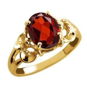 2.00 Ct Oval Red Garnet 18k Yellow Gold Ring Jewelry