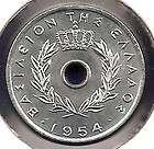 GREECE SLABBED COIN BY PCGS 50 LEPTA 1954 MS62 BU N R