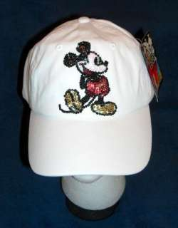 NWT DISNEY MICKEY MOUSE WHITE SEQUINNED HAT BLING