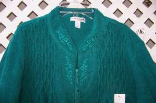 XL GREEN BRUSHED TERRY, EMB, SMOCK, TASSEL ZIP FRONT ROBE XL NWT $60