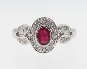 Estate Natural Ruby Diamonds Solid 14k White Gold Ring