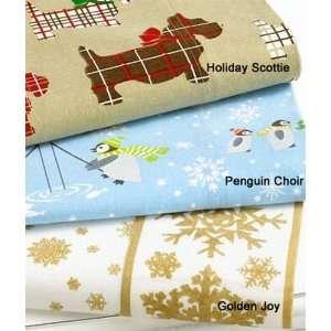 Martha Stewart Holiday Flannel Full Sheet Set Golden Joy