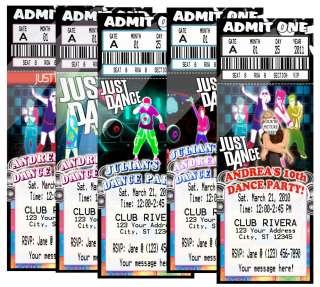 DANCE HIP HOP BIRTHDAY PARTY TICKET INVITATIONS VIP PASS FAVORS CUSTOM