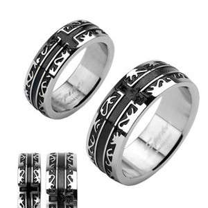 Stainless steel black IP tribal cross wedding band couple ring Size 5