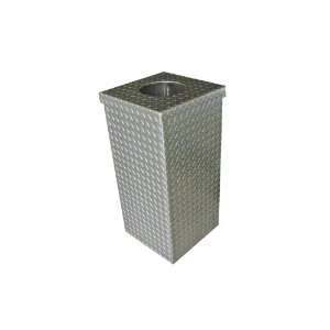 Aluminum Diamond Plate Waste Can, Grey Tatter Patio, Lawn & Garden