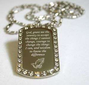 SERENITY PRAYER PEACE HOPE BLING DOG TAG NECKLACE