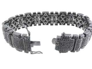Mens New Black Gold Finish Black Diamond Simulate Bracelet+Free