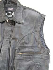 Tannery West mens black leather motorcycle jacket police vest