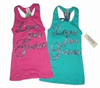 NEW~GUESS KIDS~LOVE~SPARKLY TANK TOP~7/8, 10/12, 14, 16