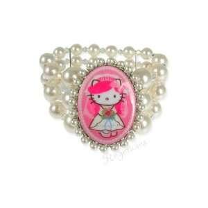 Tarina Tarantino Hello Kitty Pink Head Bridal 3 Row Bracelet   Pink
