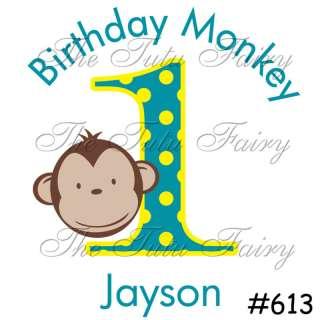Boy Yellow Blue Mod Monkeyin Monkey Around Birthday Shirt Personalized