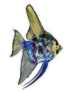 New 3D BLUE GREEN TETRA FISH METAL WALL ART Tropical Sea Decor Beach