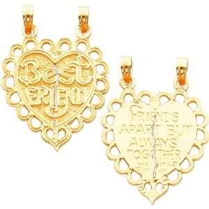 14K Gold Best Friend Heart Breakable Charm Jewelry