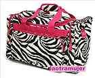 Duffel Bag Luggage Carry On Zebra Print with Pink Trim Square Duffle