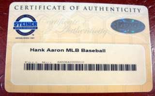 Hank Aaron Autographed Signed MLB Baseball Steiner Holo #8