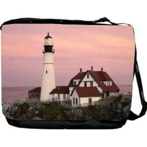 RikkiKnight Lighthouse cottage scene Messenger Bag   Book