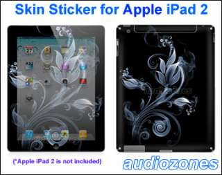 Sticker Art Decal Cool Silver Flower Design for Apple iPad 2 Tablet