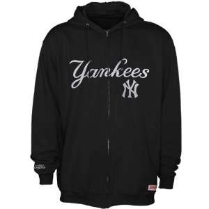 New York Yankees Black Team Applique Full Zip Hoodie Sweatshirt