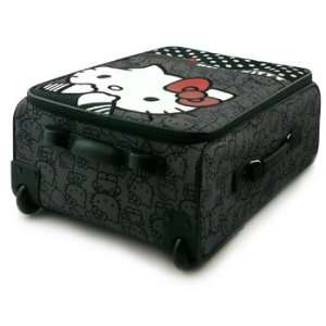 Loungefly Black & White Hello Kitty Polka Dot Rolling Carry On Luggage
