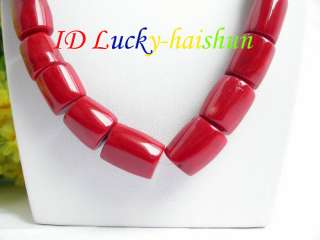 Genuine 21 17mm column red coral beads necklace