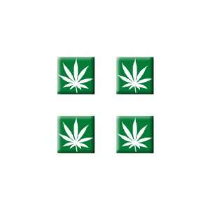 Marijuana Pot Weed Leaf   Set of 4 Badge Stickers