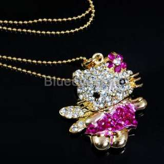Fashion Crystals Lovely HelloKitty Necklace Jewelry Swe