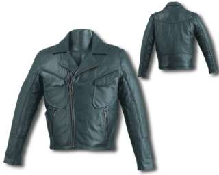 Black Leather Motorcycle Jacket with Leather Braids & Chest Pockets