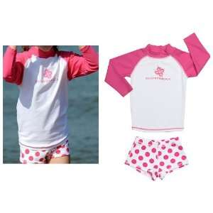 White Shirt with Pink Polka Dot Shorts UV Swim Set Sports & Outdoors