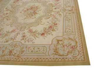 8X10 Pastel Aubusson Area Rug ~ Subtle French w Rose Medallion