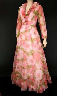 VTG 60s Bianchi Boston Ruffle Chiffon Pink Floral LS Party Maxi Dress