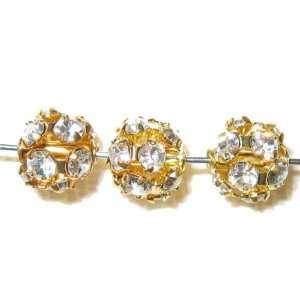 8pcs 6mm Swarovski Rhinestone Balls Gold / Crystal   B602
