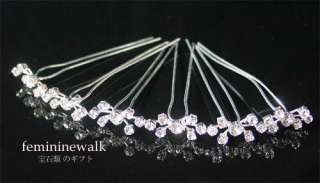 CLEAR CRYSTAL RHINESTONE WEDDNG BRIDAL HAIR PINS RP10