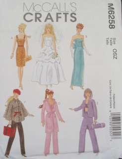 McCalls Barbie Fashion Doll Clothes Pattern Dresses Bride Pants