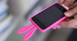 Hot Pink Bunny Rabbit Silicone Case for iPhone 3G 3GS