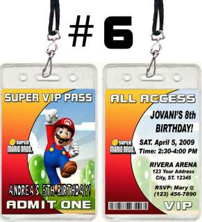 SUPER MARIO BROS GALAXY KART BIRTHDAY PARTY INVITATIONS VIP PASSES AND