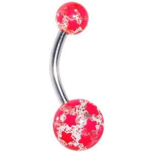 Hot Pink Glitter Star Belly Ring Jewelry