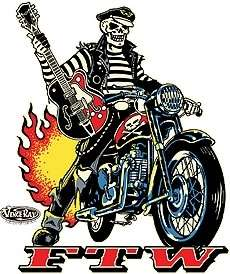 Rockabilly Biker FTW Sticker Decal Art Vince Ray VR45