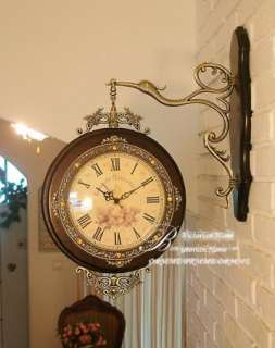 Vintage Style Antique Clock Solid Wood Wall Clocks Double Side Clock