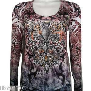 KATYDID Tattoo Fleur de lis Sublimation Rhinestone Long Sleeve T Shirt