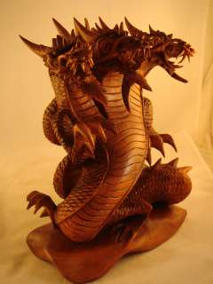 10 Suar Wood Hand Carved Dragon Sculpture ~ Trinity Guardians