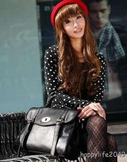 Leather Handbag Shoulder Bag Women Student School Black Brown