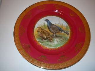ANTIQUE OLD BAVARIA STW PLATE GOLD TRIM CHARGER BIRDS PHEASANT GERMANY