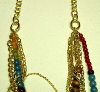NWT FASHION BUG MULTI COLOR BEAD~GOLD TONE 30 NECKLACE