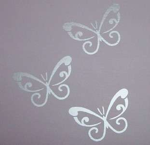 SILVER Swirl Butterfly Wall / Car Stickers Removable*