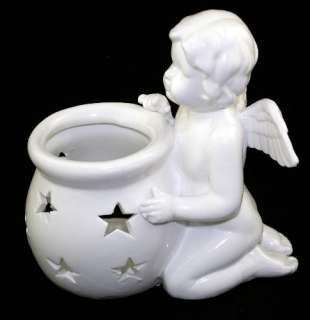 CHERUB ANGEL TEA LIGHT TEALIGHT CANDLE HOLDER STATUE SET OF 2 NEW