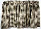 Country Burgundy Tan Check Lined Curtain Tiers 72x24