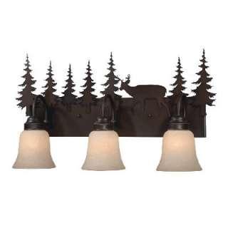 Deer Bathroom Vanity Lighting Fixture Burnished Bronze, Amber