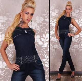 Sexy Denim Jeans Jumpsuit With Rhinestones size 6 14