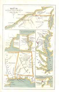 War 1812 Map Detroit & New York Chesapeake Bay Alabama